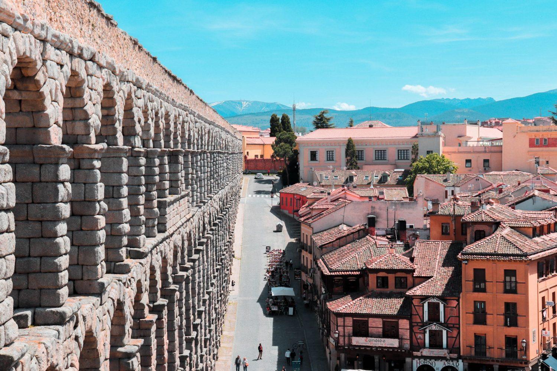 Acueducto Romano en Segovia, España.